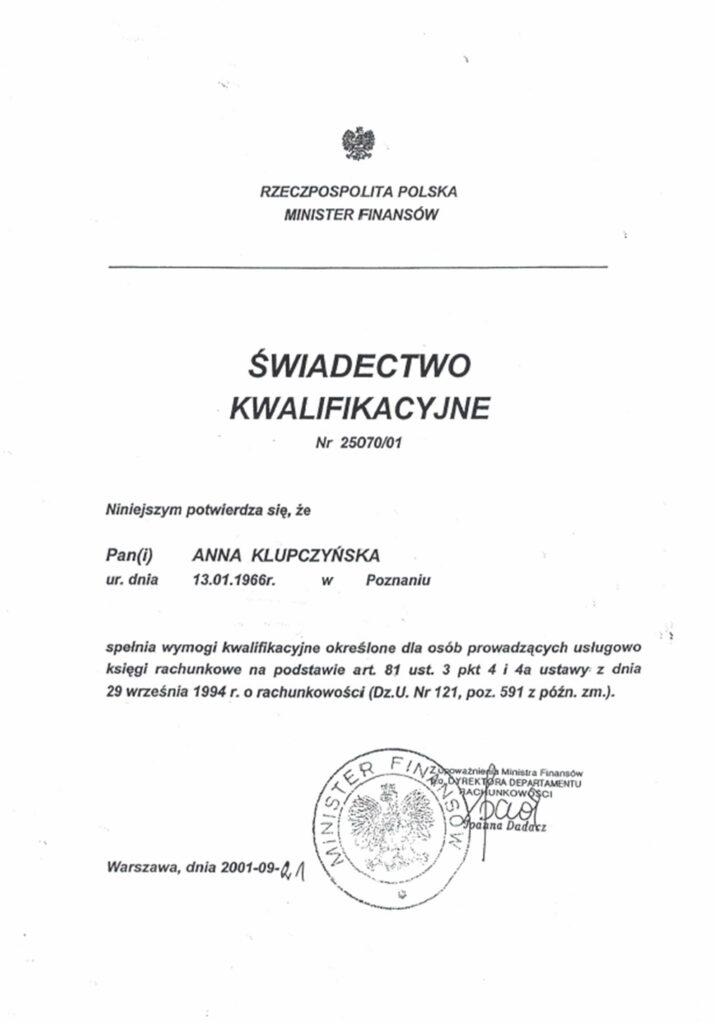 świadectwo kwalifikacyjne biuro rachunkowe Poznań