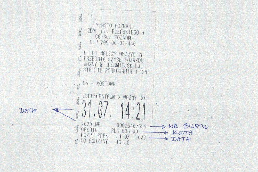 numer biletu postojowego Poznań